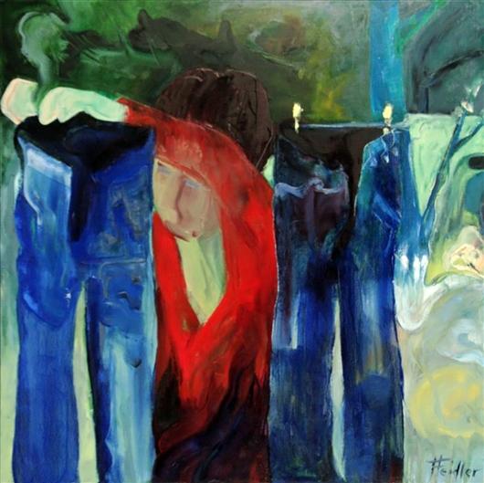 Maria hängt die Wäsche auf