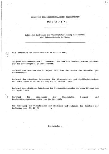 Unterschutzstellungserlass vom 23. Dezember 1987