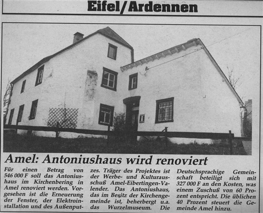 Amel: Antoniushäuschen wird renoviert