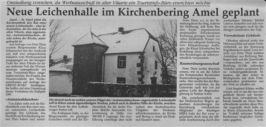 Neue Leichenkapelle im Kirchenbering Amel geplant