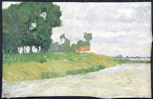 Haus und Bäume beim Fluss