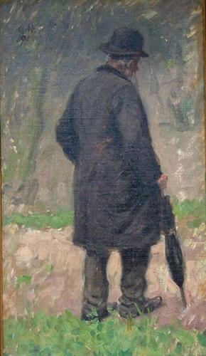 Alter Mann mit Schirm