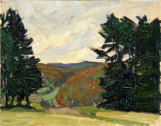 Landschaft mit Tannen