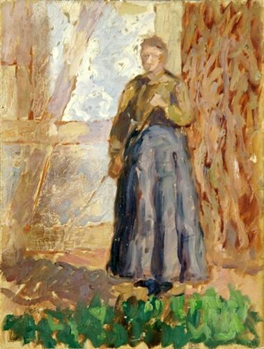 Frau mit Besen