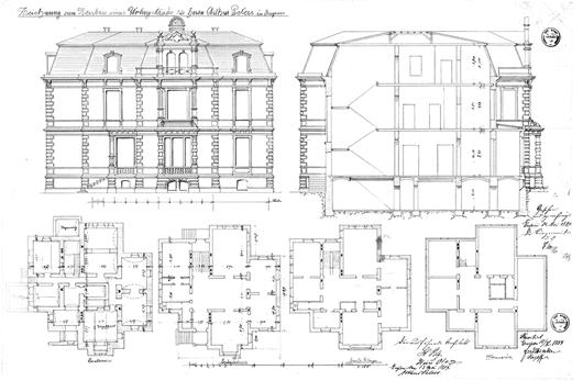 Auszug aus dem Bauantrag von 1884