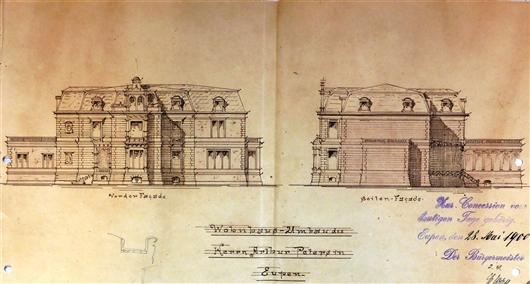 Auszug aus dem Bauantrag von 1900