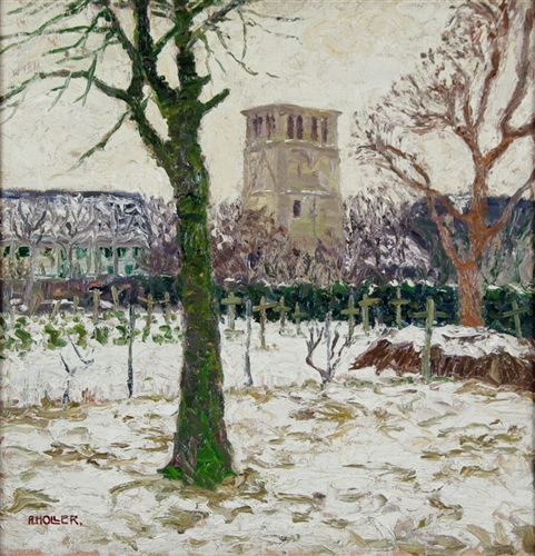 Winteransicht eines Friedhofes mit Kirche