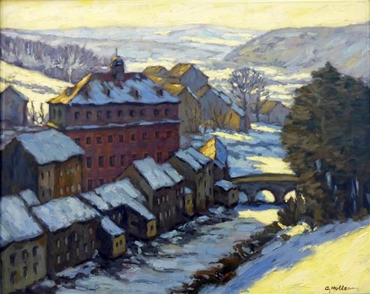 Blick auf Eupen, Unterstadt im Schnee