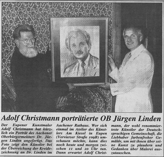 Adolf Christmann porträtierte OB Jürgen Linden
