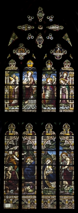 Glasfenster des Hl. Josef, nördl. Querhaus, Kirche St. Josef, Eupen