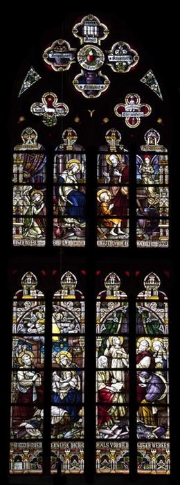 Glasfenster mit der Hl. Familie, südl. Querschiff, Kirche St. Josef, Eupen