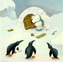 Eisbär und Pinguine
