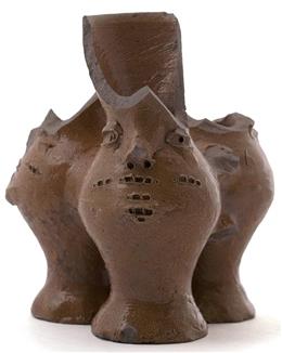 Raerener Steinzeug, Drillingskrug mit Gesicht FOR01/058