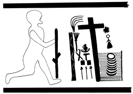 Bauchfries 090 mit religiösem Motiv (Teil)
